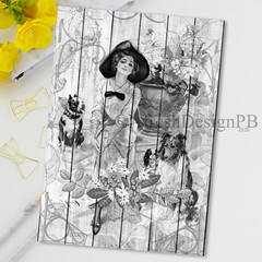 Vintage Wood Lady 2 Printable