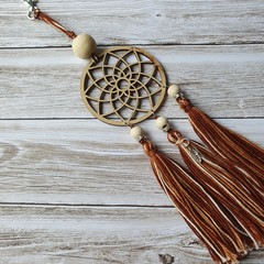 Dreamcatcher zipper pull with bown and white tassels, keyring, bag bling