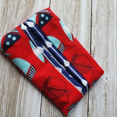 Tissue holder sail boat patterned quilting cotton fabric