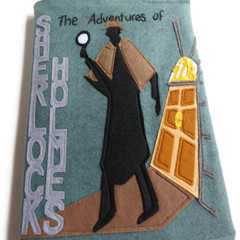 The Adventures of Sherlock Holmes Handmade Felt Book Journal - removable cover
