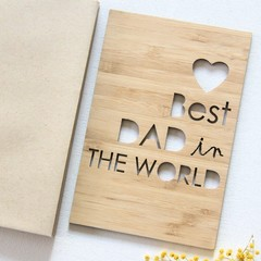 Best Dad in the World Bamboo Card Birthday Father's Day