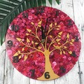 Tick Tock - Natural Tree of Life RED Buttons Resin clock - silent motion