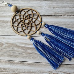 Dreamcatcher zipper pull with blue and white tassels, keyring, bag bling
