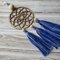 Dreamcatcher zipper pull with blue and white tassels, keyring, bag bling