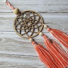 Dreamcatcher zipper pull with orange and white tassels, keyring, bag bling