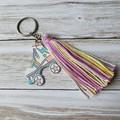 Pastel coloured tassel zipper pull/keyring with wooden skate charm