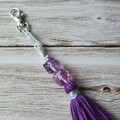 Purple tassel keyring, bag bling, with plastic beads