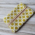 Tissue holder mustard and white patterned quilting cotton fabric