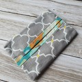 Tissue holder grey and white patterned quilting cotton fabric