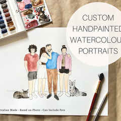 A3 Personalised Watercolour Family Portrait - Custom Family Illustration + Pet