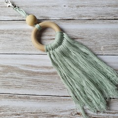 Macrame inspired bag zipper pull, bag bling, keyring, boho style, mint colour