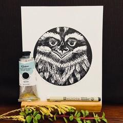 Australian Birds - Tawny Frogmouth Edition 1/5 - Linocut -  Linoprint