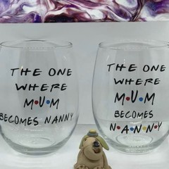 Mum becomes Nanny   personalised Stemless wineglass.