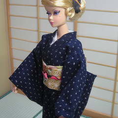 doll clothes Japanese Indigo kimono set for Silkstone Barbie dolls handmade