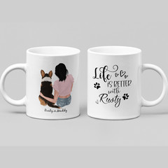 Life is Better with a Dog Personalised Ceramic Coffee Tea Mug Cup - CM020