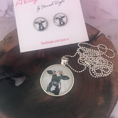Holy Cow earring & pendant set