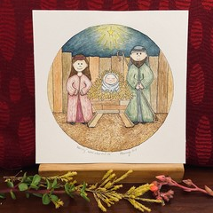 Nativity Watercolour Illustration - Mary, Joseph and Jesus in the Manger