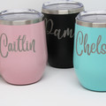 Personalised Wine Cup with Lid, Engraved Wine Cup, Insulated Wine Glass
