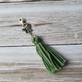 Green cotton tassel zipper pull, bag bling, butterfly charm