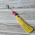 Yellow tassel keyring, bag bling, with Polymer clay beads