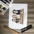 A3 Personalised Watercolour Family Portrait - Custom Family Illustration + Pet