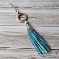 Boho tree of life charm tassel in teal zipper pull, bag bling with wooden beads