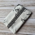 Tissue holder black and white deer patterned quilting cotton fabric