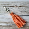 Apricot cotton tassel zipper pull, bag bling, butterfly charm