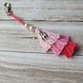 PInk ombra tassel zipper pull/keyring with purls and unicorn charm