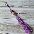 Purple tassels keyring, bag bling, with wooden beads