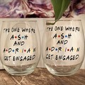 GETS MARRIED  Stemless Wine Glass