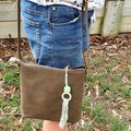 Macrame inspired bag zipper pull, bag bling, keyring, boho style, mint and grey