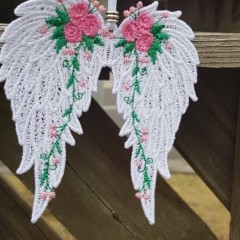 Free Standing Lace Angel Wings with Flowers.