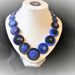 Blue button necklace -  True Blue