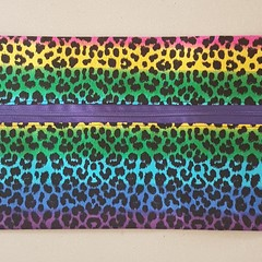 Rainbow cheetah pencil case