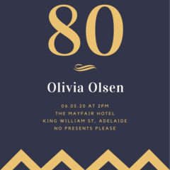 BIRTHDAY INVITATION - PRINTABLE DOWNLOAD, 80TH BIRTHDAY