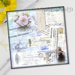French Ephemera Collage Printable One