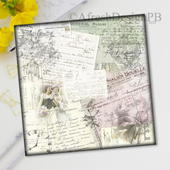 French Ephemera Collage Printable Three
