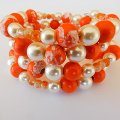 Orange & White Wrap Bracelet