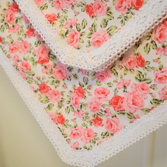Cotton vintage lace baby keepsake blanket - Roses