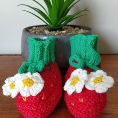 Strawberry booties (0-3 months)