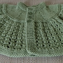 Pure Wool - hand knitted Olive Green cardigan (0 - 6 months)