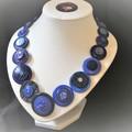 Blue button necklace -  True Blue