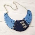 Statement Necklace - Polymer Clay Collar Cuff Bib Style Necklace Blue
