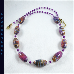 Polymer Clay Bead Necklace. Purple Gold Ripple