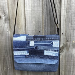Upcycled Denim Small Messenger Bag