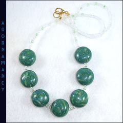 Polymer Clay Bead Necklace. Marbled Glittery Green