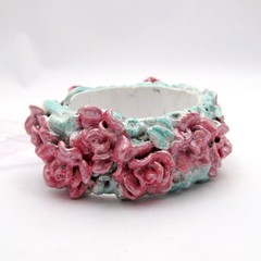 Polymer Clay Sculpted Roses Shabby Chic Cuff Bracelet