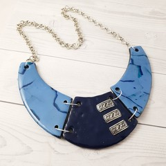 Statement Necklace - Polymer Clay Collar Cuff Bib Style Necklace Blue