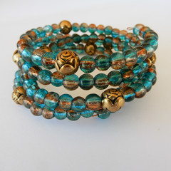 Bronze & Blue Wrap Bracelet